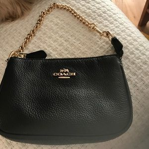Coach Bag with Gold Chain Handle. Black Leather