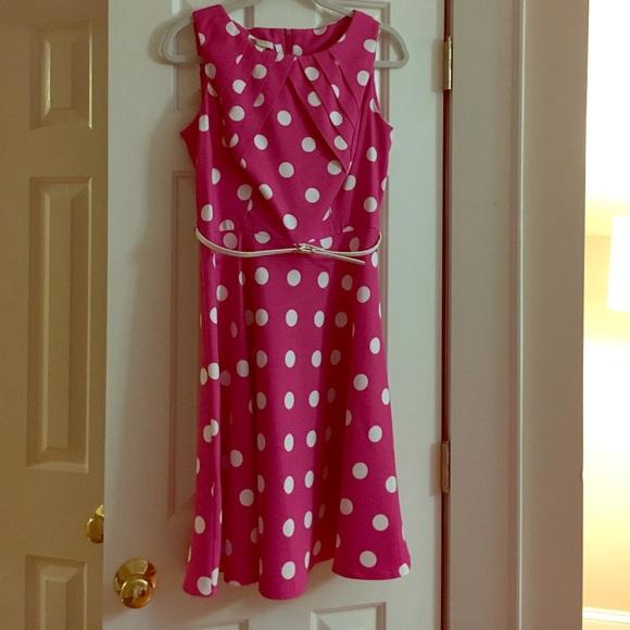 Dress Barn Db Signature Pink Polka Dot Dress