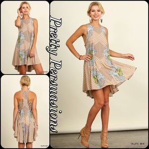 Pretty Persuasions Dresses & Skirts - SALE💞NWT Vintage Print & Lace Beige Swing Dress