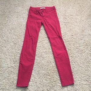Bullhead black red denim leggings size 1