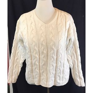 Eddie Bauer cable knit sweater 100%cotton