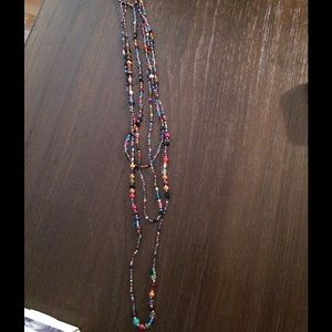 Multi-strand Glass & Wood Bead Necklace