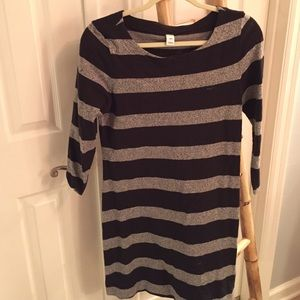 Black and grey striped long sleeve dress