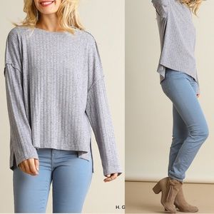 ❗️LAST S,M❗️Long sleeve oversized grey knit top