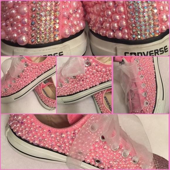 Converse Shoes - Pink Converse Pearl   Swarovski Crystals 629d8e664