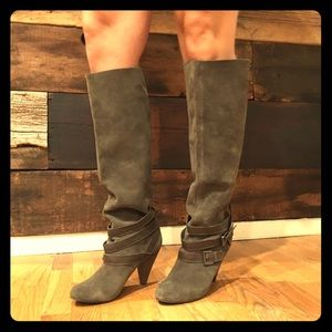 Naughty Monkey brown/gray suede slouchy boots