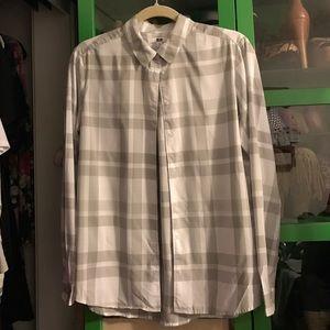 Uniqlo button up plaid print blouse