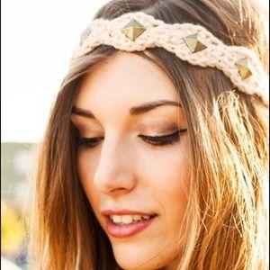 NWT Crocheted Studded Headband