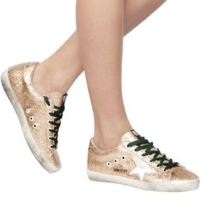 Golden Goose Superstar Sneaker in Gold Glitter