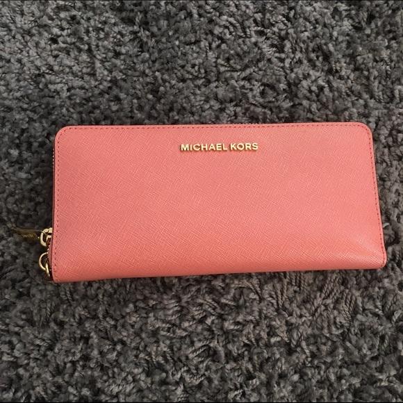 a66c7d602a8208 Michael Kors Bags | Mk Patent Leather Continental Wristlet Peach ...