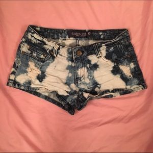 Bleach Washed Jean Shorts