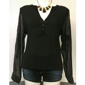 1eyed 1der boutique Tops - Chiffon Blouse (red, blue, blk available)