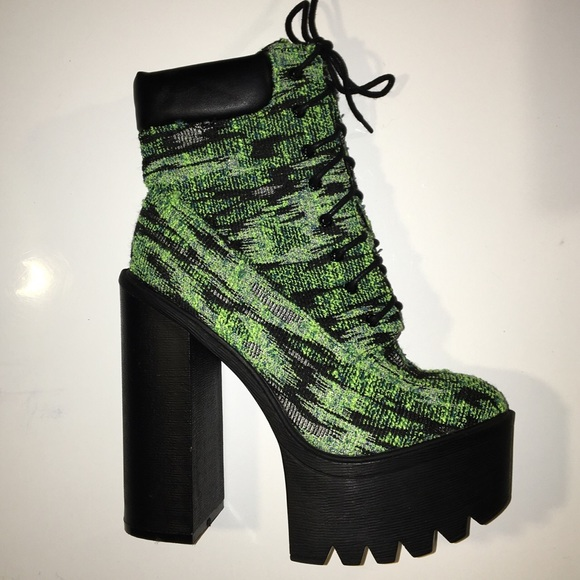 Shoes - Athena Green Tapestry Heeled Lace Up Boot