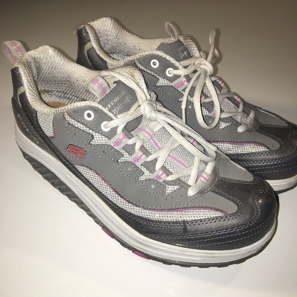 Shoes - Silver + Pink Sketchers Shape-Ups