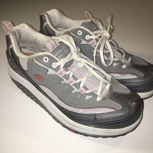 Silver + Pink Sketchers Shape-Ups
