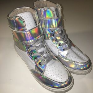 Shoes - Iridescent Perforated Patent Leather Sneaker Wedge