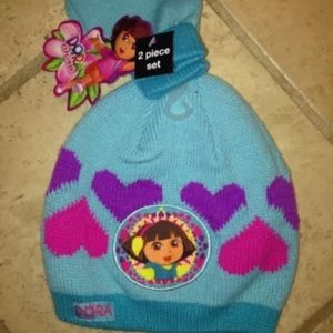 Nickelodeon Other - NWT Dora Toddlers Beanie Mittens Set