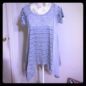 Cute RAIN Gray Fancy T-Shirt Style Blouse [TO-7]