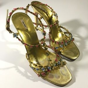 Miu Miu Gold Leather Floral Strappy High Heel