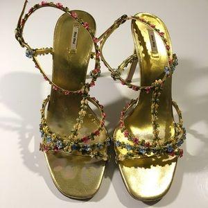 Miu Miu Shoes - Miu Miu Gold Leather Floral Strappy High Heel