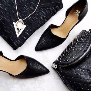 Joe's Jeans Shoes - Black Textured Leather D'orsay Pumps
