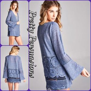 NWT Periwinkle Crochet Lace Bell Sleeve Cardigan