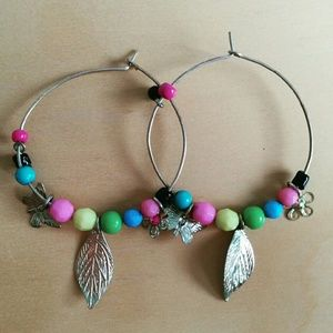  Charm Hoop Earrings w beads and feather