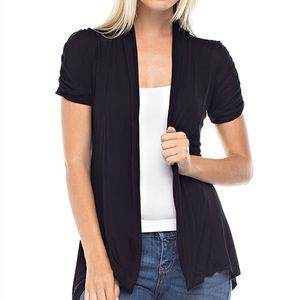 Sweaters - Charcoal Open Drape Cardigan