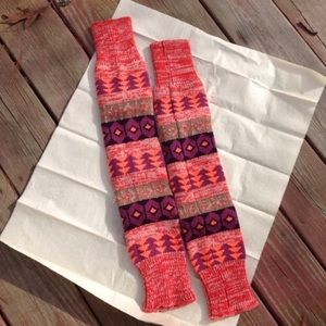 Coral Aztec Leg Warmers