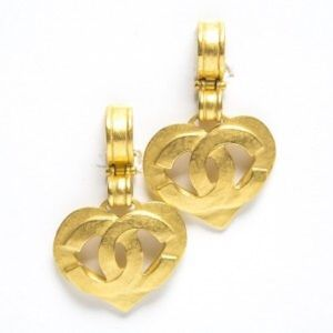 Chanel Drop CC Heart Vintage Clip On Earrings