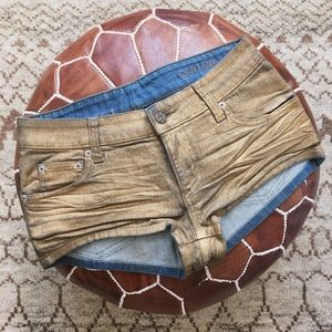 Carmar Pants - Carmar Gold Coated Denim Shorts