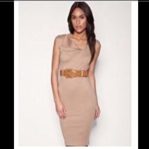 ASOS CAMEL FITTED BELTED PONTI MIDI PENCIL DRESS 8