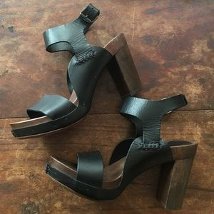 Barneys New York Shoes - Barney's New York Leather and wood heels