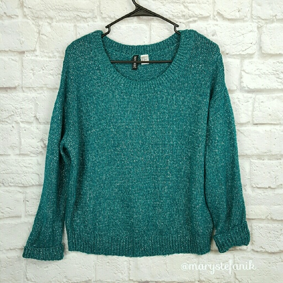 72% off H&M Sweaters - H & M Divided Teal Green Sparkle Sweater ...