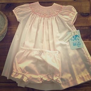 Luli & Me Other - Pink 2 please dress embroidery handmade NWT