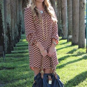 Oxblood Chevron Print Tunic Dress