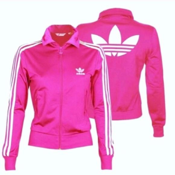 21286659030 adidas Jackets   Blazers - 💗ADIDAS ORIGINALS Hot Pink   White Track JACKET