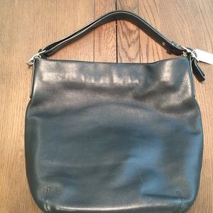 Black coach supple soft leather tote