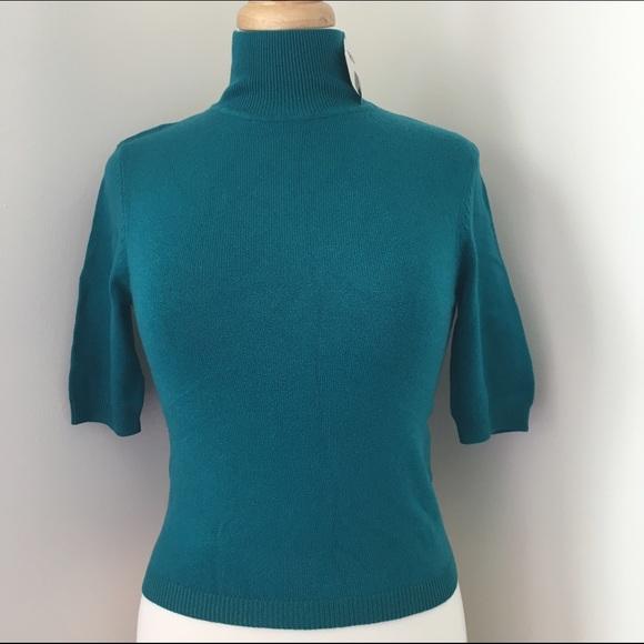 Moda International Sweaters Cashmere And Silk Short Sleeve Mock