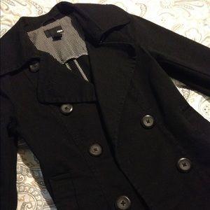 H&M Jackets & Blazers - Black Denim Peacoat