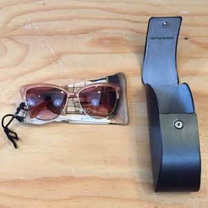 Oliver People's Peach & Gold Cat Eye Sun Glasses