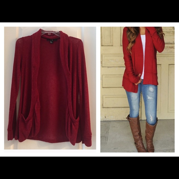 53% off Forever 21 Sweaters - Red Sheer Cardigan - with pockets ...
