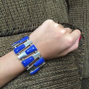 Jewelry - Silver and Blue Elastic Metal Bracelet