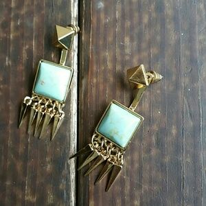 October love  Jewelry - 18k gold plated and authentic turquoise earrings