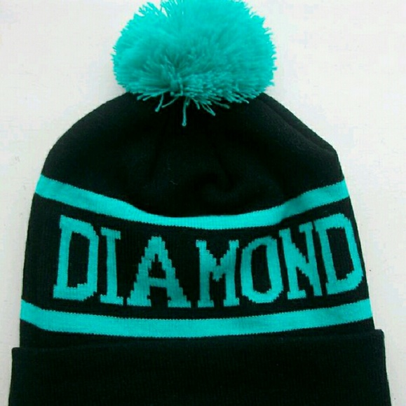 b9264c9bf5e Diamond supply pom pom beanie black  turquoise