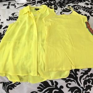 NWT mossimo bright yellow tunic and matching tank