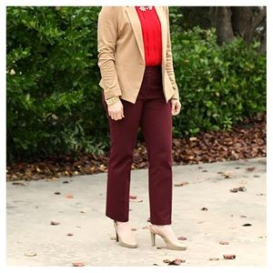 Burgundy Loft straight ankle pants