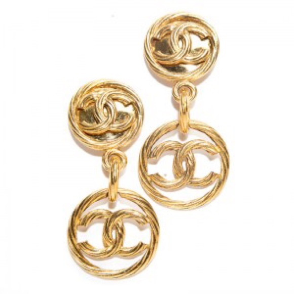 CHANEL Jewelry Gold Drop Hoop Cc Vintage Clip On Earrings Poshmark