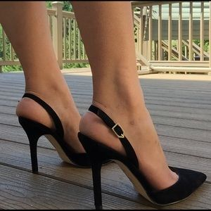 Sam Edelman pointy toe black suede slingbacks