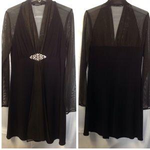 Onyx Dresses & Skirts - Sheer mini cocktail dress w/rhinestone pin. Sz 2/4